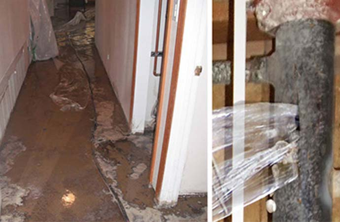 Burst pipes affected rooms