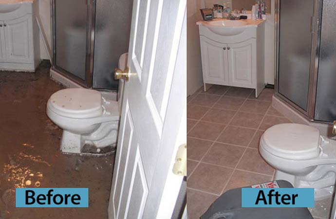 Toilet overflow cleanup before after